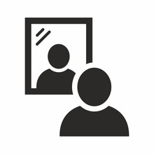 Mirror Icon. Man Standing In Front Of A Mirror. Vector Icon Isolated On White Background.