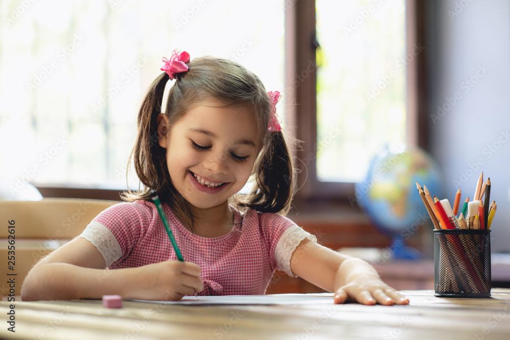 Fototapeta Happy Little Child Girl Drawing Picture in School