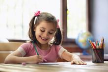 Happy Little Child Girl Drawin...
