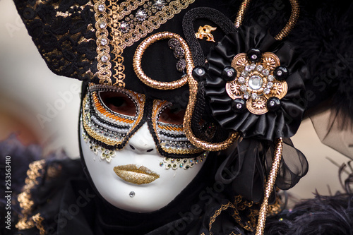 Ingelijste posters Halloween Unidentified person with Venetian Carnival mask in Venice, Italy on February