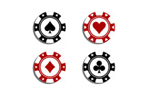 Poker Chips With Card Symbols