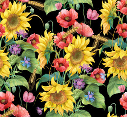 Fototapeta Słoneczniki Flowers and ears. Sunflower, cornflower, poppy and barley seamless background pattern. Version 2