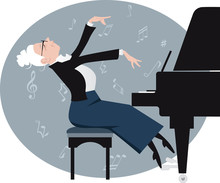 Elderly Woman Playing A Piano, EPS 8 Vector Illustration