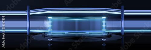 Valokuva  Panoramic, Wide Studio Interior 3D Render