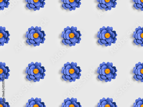 blue flowers made of paper on grey, seamless background pattern