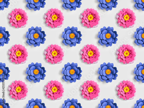 blue and pink paper flowers on grey, seamless background pattern