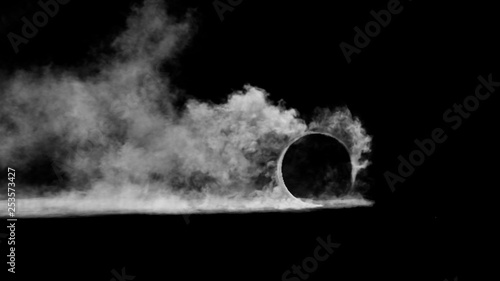 Wall Murals Smoke 3d render burnout wheels with smoke on black background