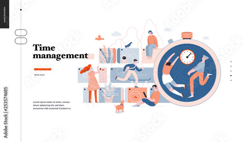 Photo  Technology 3 -Time management - modern flat vector concept digital illustration of time management metaphor, a stopwatch, timeline and people in workflow