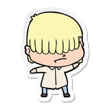 Sticker Of A Cartoon Boy With Untidy Hair