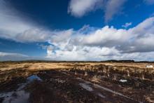 Irish Peat Bog Landscape In Rural Ireland
