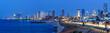 Leinwanddruck Bild - Tel Aviv Skyline Panorama Israel blaue Stunde Nacht nachts Stadt Meer Hochhäuser