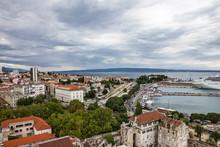 Split, Croatia: Split Old Port Panorama.