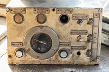 Control Panel Of The Old Control Room In The Diesel Locomotive.