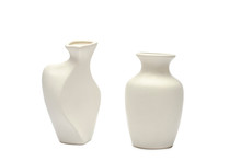 Pottery, Vase, White Clay Jug Isolated On White Background. A Mockup Of Pottery Made From White Clay On A White Background.