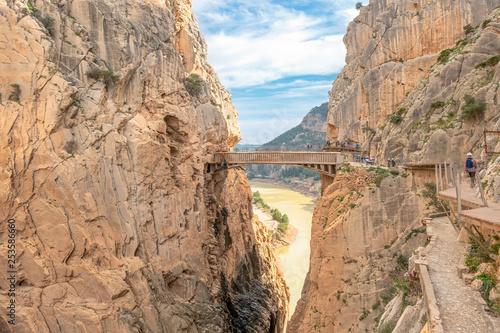 Bridge in gorge of the Gaitanes in el Caminito del Rey (The King's Little Path) Canvas Print