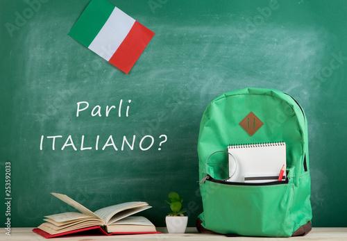 Fototapeta backpack, blackboard with text