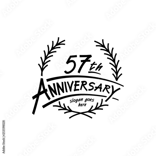 Photo  57 years design template. Vector and illustration. 57 years logo.
