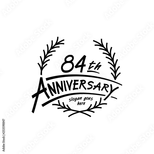 Fotografia  84 years design template. Vector and illustration. 84 years logo.