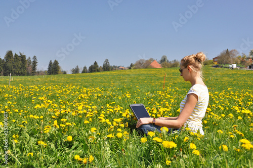 Fotografiet  Girl with a notebook computer on the spring meadow