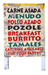 Weathered Mexican sandwich board menu. Isolated.