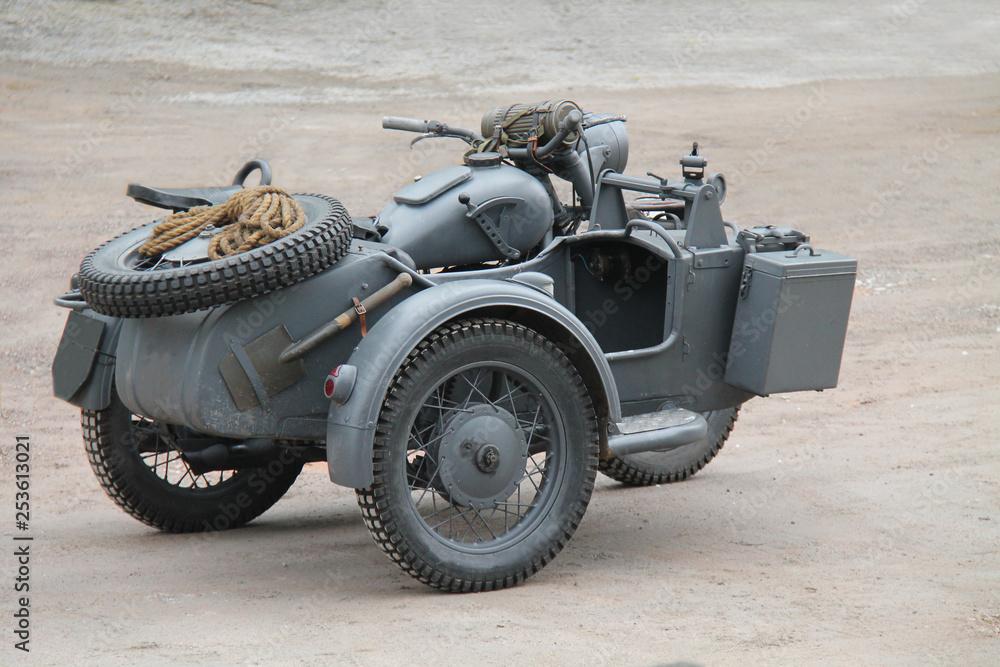 Fototapeta A Vintage German Wartime Motorcycle and Sidecar.