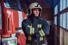 A Brave Fireman Wearing Protec...
