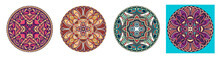 Decorative Design Of Circle Dish Template, Round Geometric Pattern