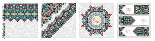 Obraz na plátne  decorative label card for vintage design, indian ethnic kalamkari style