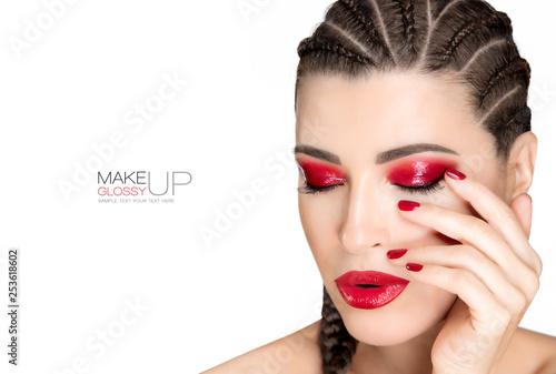 Obraz Beautiful braided hair woman with glossy red makeup - fototapety do salonu