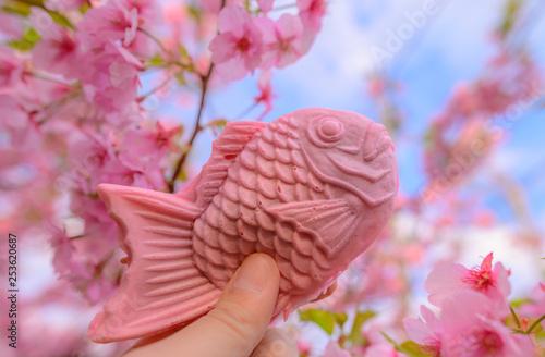 Montage in der Fensternische Rosa Lovey Taiyaki Pink Fish Sweet Dessert