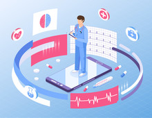 Online Medicine Healthcare Isometric Illustration. Web Design Vector Template. Male Doctor On Smartphone With Medication, Symbols And Documents.
