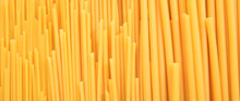 Uncooked Spaghetti And Macaroni Pasta Texture Background, Banner