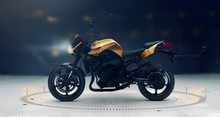Modern Sports Motorcycle With Technology User Interface Details  (3D Illustration)