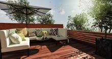 Sitzecke Auf Gemütlicher Terrasse Im Sommer