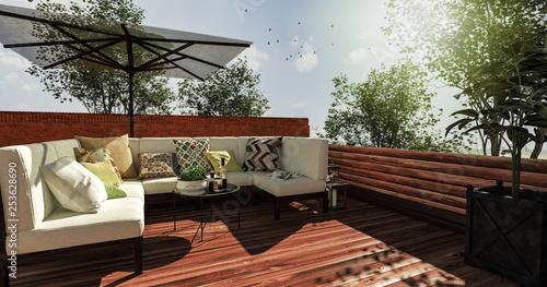 Fotografie, Obraz  Sitzecke auf gemütlicher Terrasse im Sommer