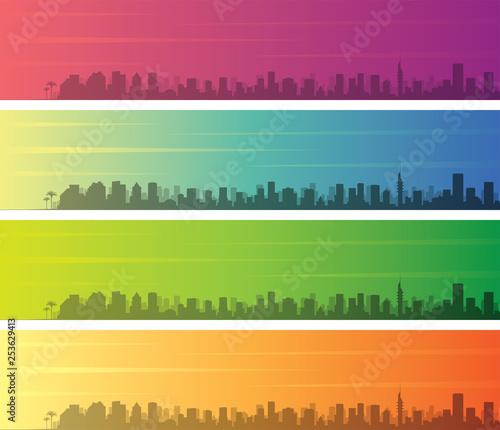 Obraz na płótnie Tel Aviv Multiple Color Gradient Skyline Banner