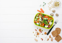 Lunch Box With Vegetable Salad On Table With Ingredients With Copy Space