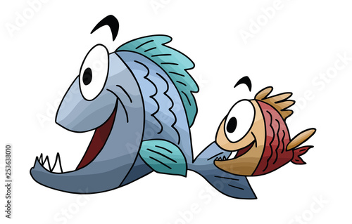 Valokuvatapetti Cartoon fish, father and son swimming vector illustration