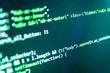 Programming code abstract company office. Web development work concept. Programming source code HTML for Website development. Modern application Computer script. Source PC website developer.