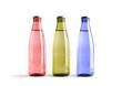 Colored blank bottles, mockup for beverages