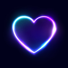 Neon 80s Style Heart Vector Abstract Background On Dark Blue Backdrop. Bright Electric Technology Frame. Romantic Love Logo Concept. Blank Text Space. Illuminated Signboard. Color Vector Illustration.