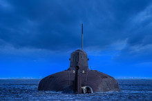 Military Submarine On The Water. Warship. Nuclear Submarine. Navy. Weapon The Defense Of The State. Military Conflicts.