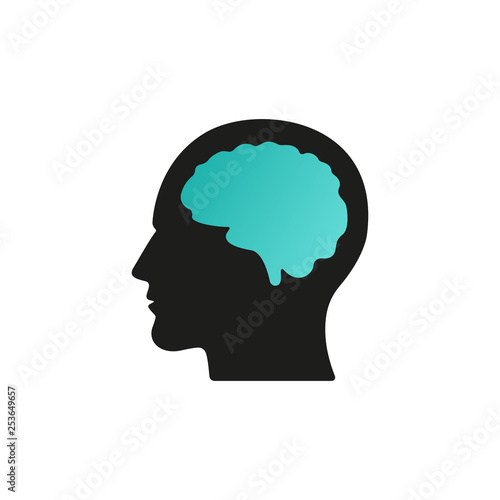 Head with brain vector icon EPS 10. Simple isolated silhouette symbol. Wall mural