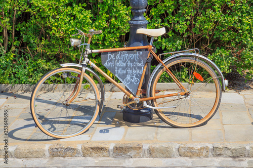 Aluminium Prints Bicycle Bicycle is used as advertising. concept of advertising.