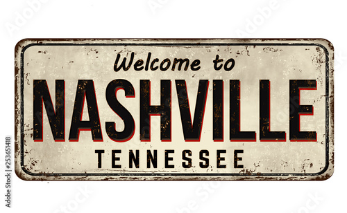 Photo  Welcome to Nashville vintage rusty metal sign