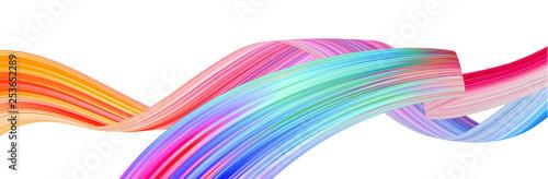 Obraz Colorful flow brush stroke. Ribbon isolated line. - fototapety do salonu