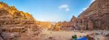 Fototapeta Uliczki - People are walking towards ancient theatre in Petra, Jordan
