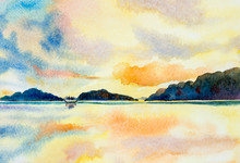 Watercolor Painting Seascape C...