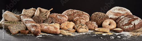 Fototapeta Panoramic banner with rustic bread