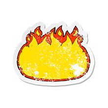 Retro Distressed Sticker Of A Cartoon Fire Border
